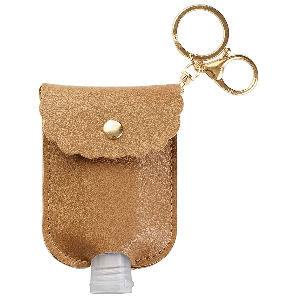 Llavero de cuero marrón claro para mini botella de gel hidroalcoholico recargable de 60 ml. con gel desinfectante