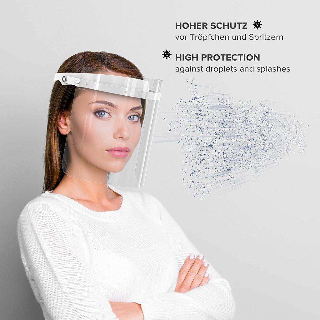 Mascaras faciales transparentes para evitar gotas y contaminación por salpicaduras