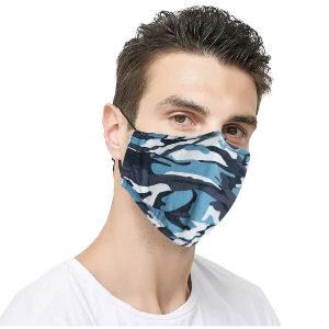 Mascarilla camuflaje azul reutilizable