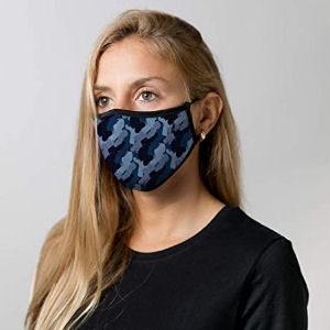 Mascarilla de camuflaje azul de tela reutilizable