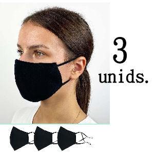 Mascarilla reutilizable y lavable negra, set de 3 mascarillas de algodón homologadas
