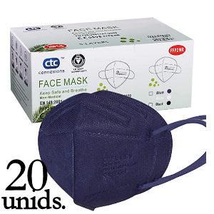 Mascarillas FFP2 azul oscuro con 5 capas de filtración, pack de 20 unidades