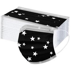 Mascarillas desechables negras con estrellas para adultos