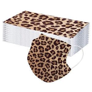 Mascarillas desechables de leopardo para adultos, pack de 50 mascarillas con estampado de leopardo