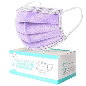 Mascarillas lilas desechables, pack de 50 unidades con 3 capas de filtración