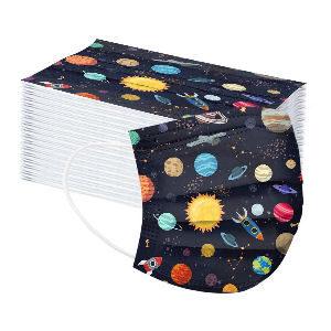 Mascarillas para niños con planetas y dibujos del espacio y del universo, pack de 50 mascarillas para niños de 4 a 15 años