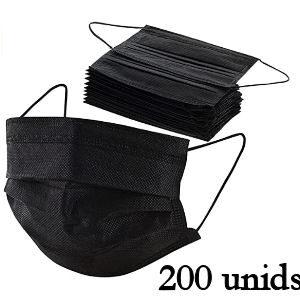 Mascarillas quirúrgicas negras para adultos, pack de 200 undiades
