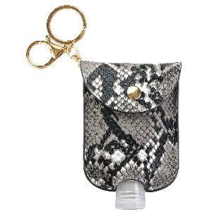 Minibotella de gel hidroalcoholico de serpiente, funda estampada con dibujo de serpiente