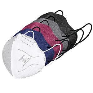 Pack de 20 mascarillas ffp2 de colores, set de 20 unidades con 4 mascarillas de cada color rosa, azul, gris, blanco y negro