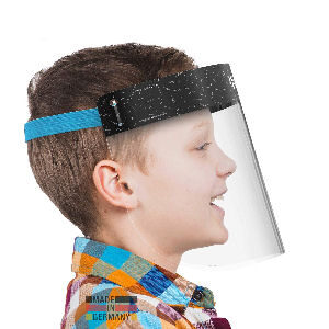 Pantalla azul para niños, protector facial con cinta azul para niños y niñas