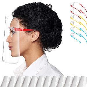 Pantallas protectores faciales transparentes para adultos y estudiantes, 12 visores reemplazables con 6 colores diferentes