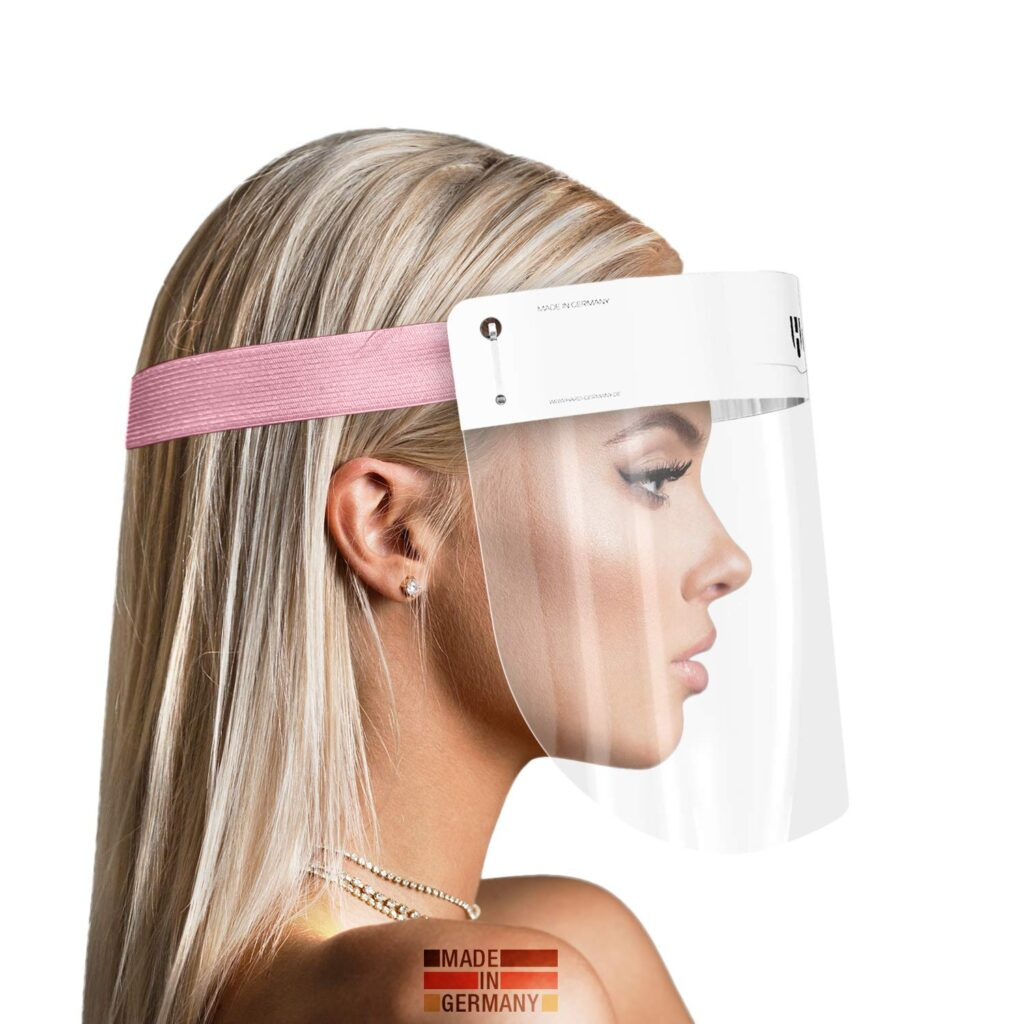 Visera transparente con cinta rosa para proteger tu rostro de salpicaduras, antivaho