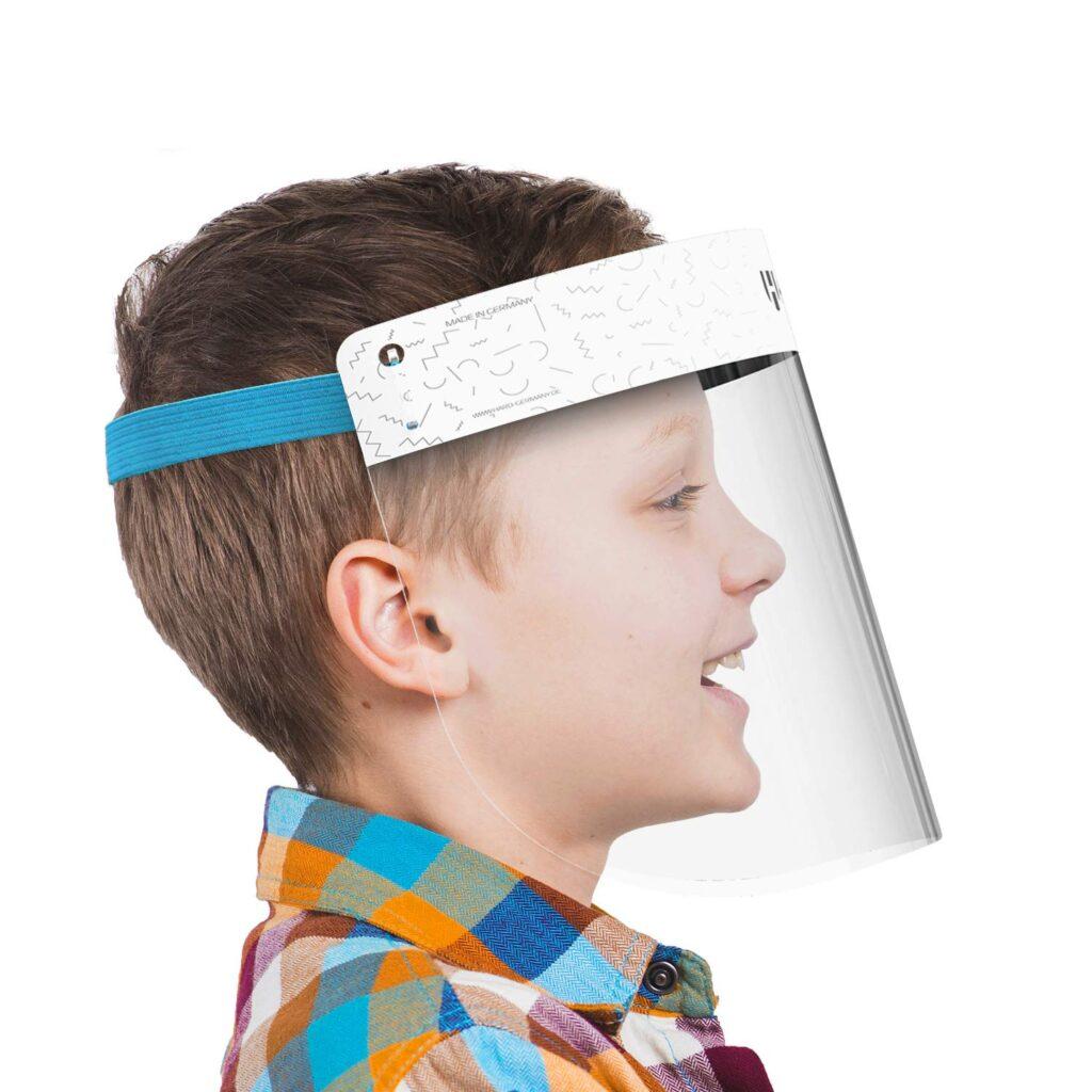 Viseras faciales para niños para proteger su rostro de salpicaduras y estornudos