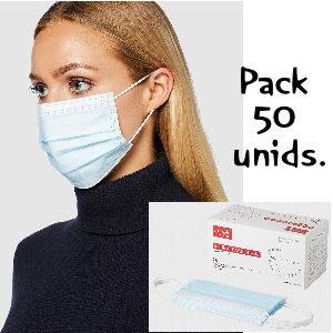 mascarilla quirúrgica pack de 50 unidades